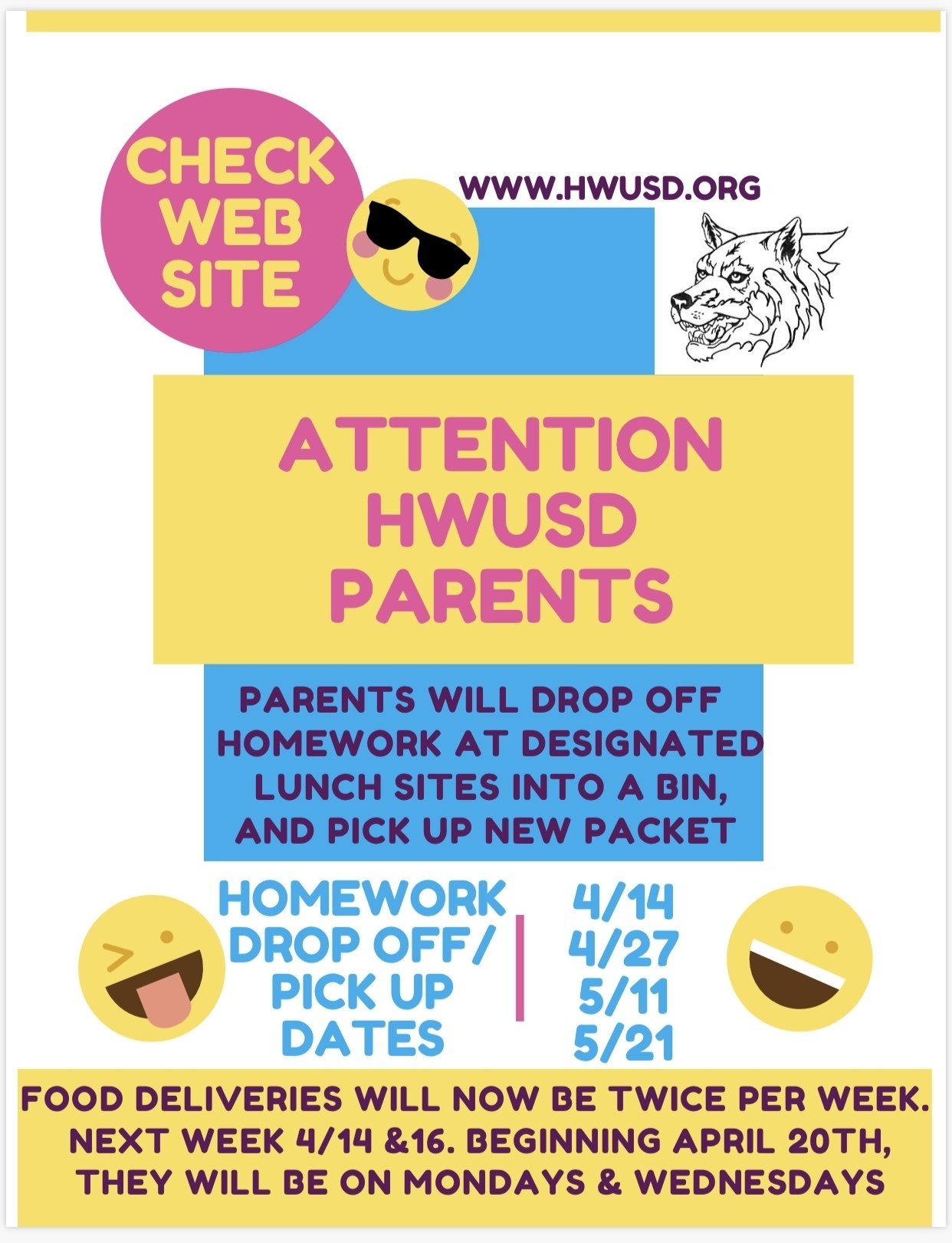 Homework/Lunch Drop off/Pick up Dates